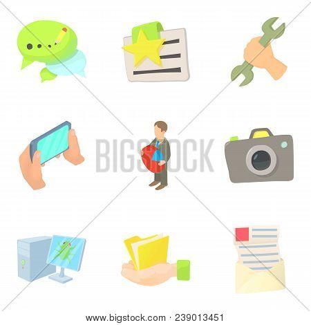 Working Atmosphere Icons Set. Cartoon Set Of 9 Working Atmosphere Vector Icons For Web Isolated On W