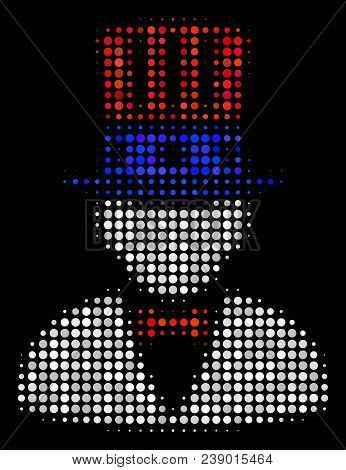 American uncle sam halftone vector icon. Illustration style is pixel iconic American uncle sam symbol on a black background. Halftone texture is constructed from spheric elements. poster