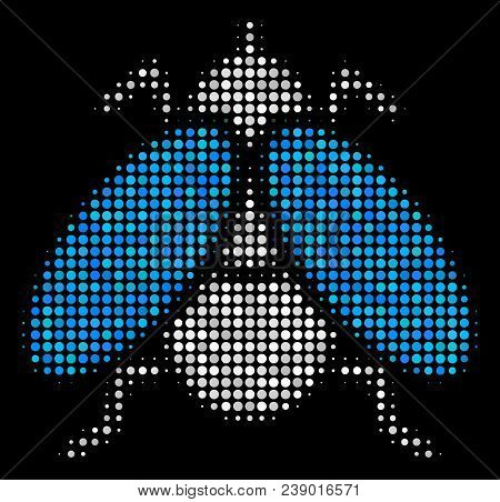 Fly Insect Halftone Vector Icon. Illustration Style Is Dotted Iconic Fly Insect Symbol On A Black Ba