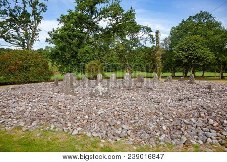 Southern circle with ring of 13 standing stones at Temple Wood (Half Moon Wood) prehistoric site  Kilmartin Glen near Kintyre, Argyll and Bute, Scotland, UK