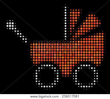 Baby Carriage Halftone Vector Icon. Illustration Style Is Dotted Iconic Baby Carriage Symbol On A Bl