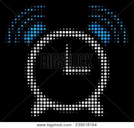 Buzzer Halftone Vector Icon. Illustration Style Is Pixel Iconic Buzzer Symbol On A Black Background.
