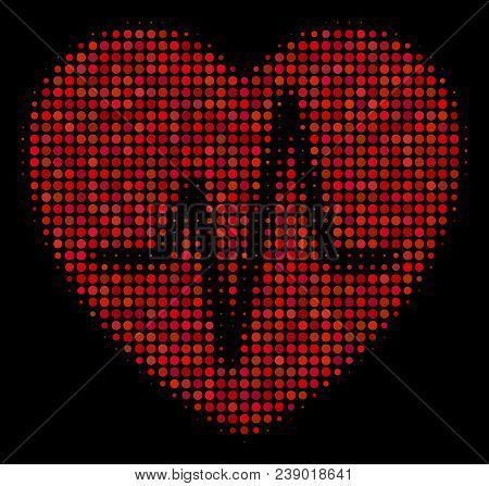 Cardiology Halftone Vector Icon. Illustration Style Is Pixel Iconic Cardiology Symbol On A Black Bac