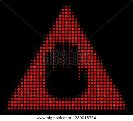 Caution Halftone Vector Icon. Illustration Style Is Pixel Iconic Caution Symbol On A Black Backgroun
