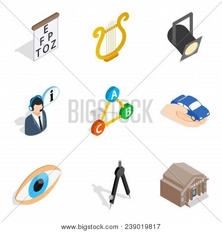 Labour inspector icons set. Isometric set of 9 labour inspector vector icons for web isolated on white background poster