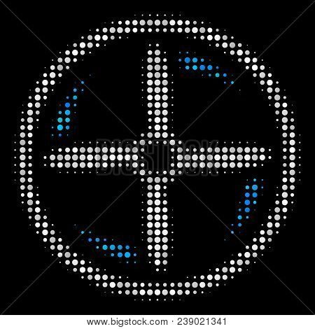 Drone Screw Rotation Halftone Vector Icon. Illustration Style Is Dotted Iconic Drone Screw Rotation
