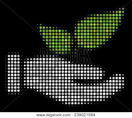 Eco Startup Hand Halftone Vector Icon. Illustration Style Is Pixelated Iconic Eco Startup Hand Symbo