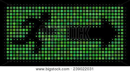 Emergency Exit Halftone Vector Icon. Illustration Style Is Pixel Iconic Emergency Exit Symbol On A B