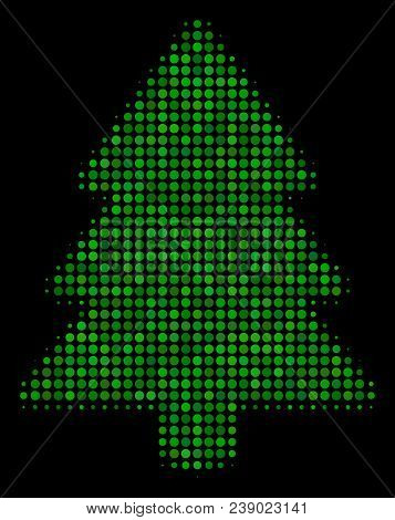 Fir-tree Halftone Vector Icon. Illustration Style Is Dot Iconic Fir-tree Symbol On A Black Backgroun