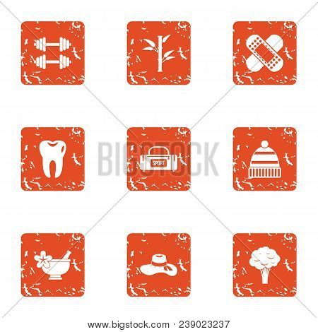 Physical Fitness Icons Set. Grunge Set Of 9 Physical Fitness Vector Icons For Web Isolated On White