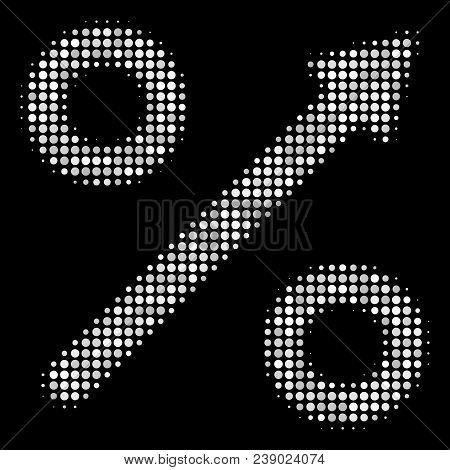 Growing Percent Halftone Vector Icon. Illustration Style Is Pixelated Iconic Growing Percent Symbol