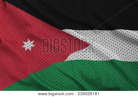 Jordan flag printed on a polyester nylon sportswear mesh fabric with some folds poster