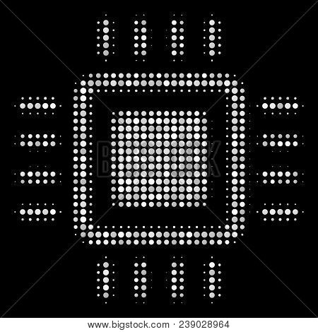 Processor Halftone Vector Icon. Illustration Style Is Dotted Iconic Processor Symbol On A Black Back