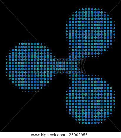 Ripple Currency Halftone Vector Icon. Illustration Style Is Pixelated Iconic Ripple Currency Symbol