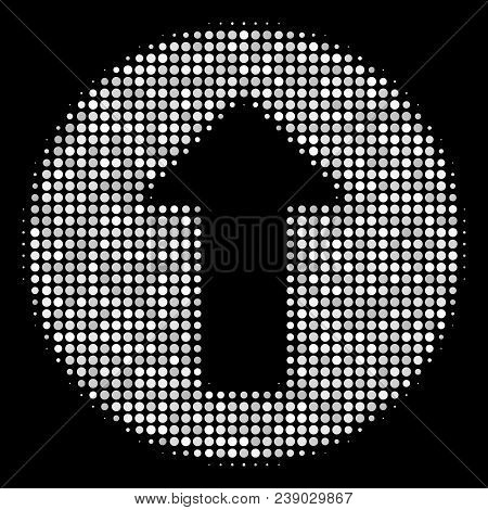Rounded Arrow Halftone Vector Icon. Illustration Style Is Dotted Iconic Rounded Arrow Symbol On A Bl