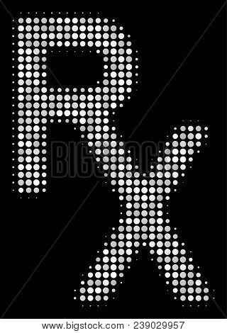 Rx Medical Symbol Halftone Vector Icon. Illustration Style Is Dot Iconic Rx Medical Symbol Symbol On