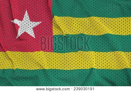 Togo flag printed on a polyester nylon sportswear mesh fabric with some folds poster