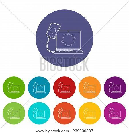 Gadgets Synchronized Operation Icon. Outline Illustration Of Gadgets Synchronized Operation Vector I