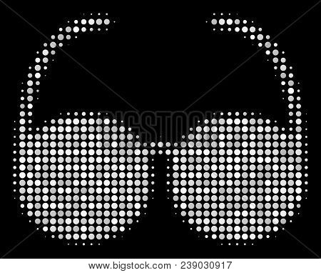 Spectacles Halftone Vector Icon. Illustration Style Is Dot Iconic Spectacles Symbol On A Black Backg