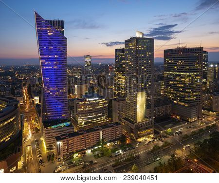 Warsaw, Poland-april 2018:modern Skyscrapers In The Center Of The Polish Capital, Warsaw. Sunset Sky