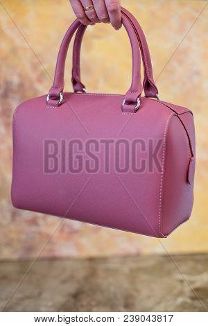 Pink Women's Handbag In Hand, Ladies Bag, Pink Female Clutch,pink Clutch.women's Bag Isolated On Mar