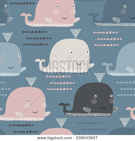 Seamless Pattern With Whale. Scandinavian Style. Summer Marina Background. Stock Vector. Perfect For