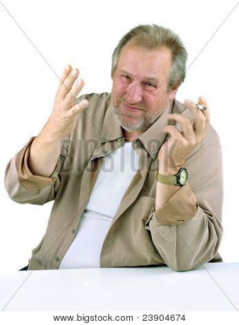 Man In The 50S With A Hand Gesturing, Holding A Cigarette
