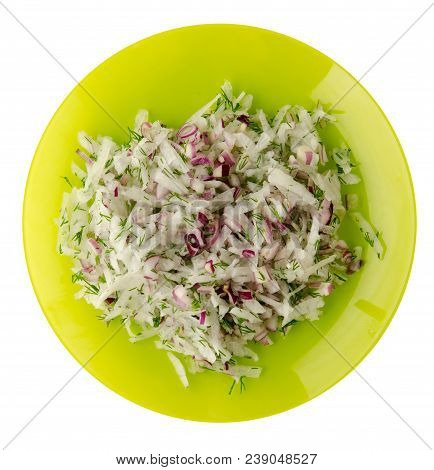 Salad Daikon, Onions And Dill  Isolated On White Background. Salad On A Plate