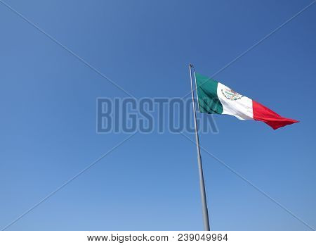 Mexican National Flag On Mast On Clear Blue Sky On Beach At Acapulco City In Mexico In 2018 Warm Sun