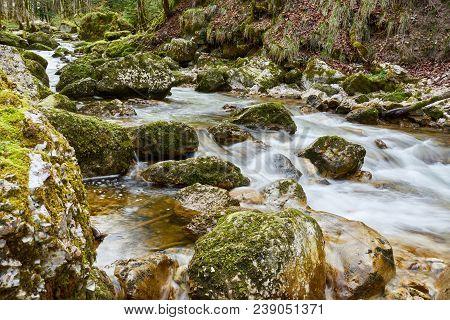 Water Running Into River Near Cascades Du Hérisson Jura France