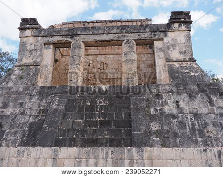 Ancient Wall Ruins Of Great Ball Court Building At Chichen Itza City, Mexico, Largest Most Impressiv