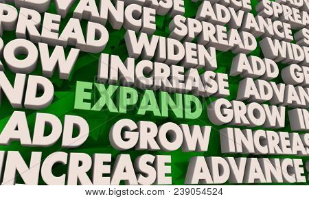 Expand Grow Increase Spread Words 3d Illustration