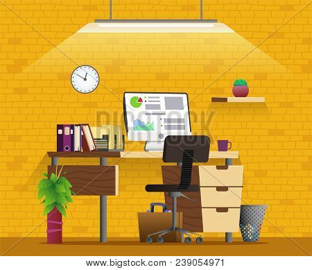 Office Workplace Interior Design. Home Office Concept Illustration