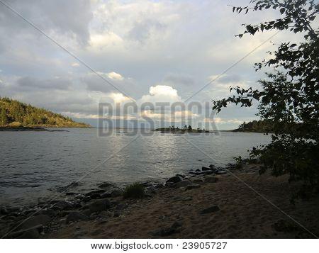 Evening over islands of Ladoga lake