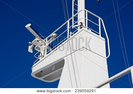 Gozo, Malta - April 3, 2017 - Radar Housing On The Mast Of The Gozo Channel Line Ferry, Malta, Europ