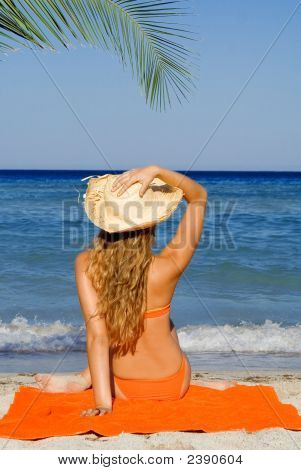 Woman Relaxing On Beach Summer Vacation