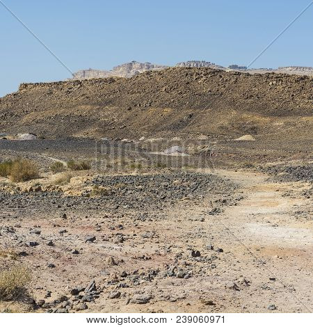 Desolate Infinity Of The Rocky Hills Of The Negev Desert In Israel. Breathtaking Landscape And Natur