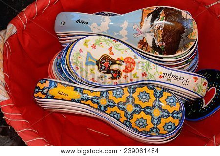 Silves, Portugal - June 10, 2017 - Large Colourful Ceramic Spoons For Sale, Silves, Portugal, Europe