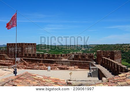 Silves, Portugal - June 10, 2017 - View Of The Ruins Within The Medieval Castle With Battlements And