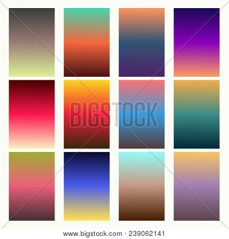 Trendy Gradient Swatches. Collection Palettes Of Gradient Swatches. Set Of Multicolored Gradients. V