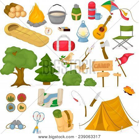 Camping Children Summer Camp Park Vector Illustration Fun Childhood Campfire Nature Outdoor Leisure.
