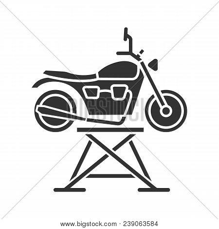 Motorbike Jack Glyph Icon. Motorcycle Repair Lift. Silhouette Symbol. Negative Space. Vector Isolate