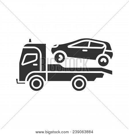 Tow Truck Glyph Icon. Evacuator. Car Wrecker. Silhouette Symbol. Negative Space. Vector Isolated Ill