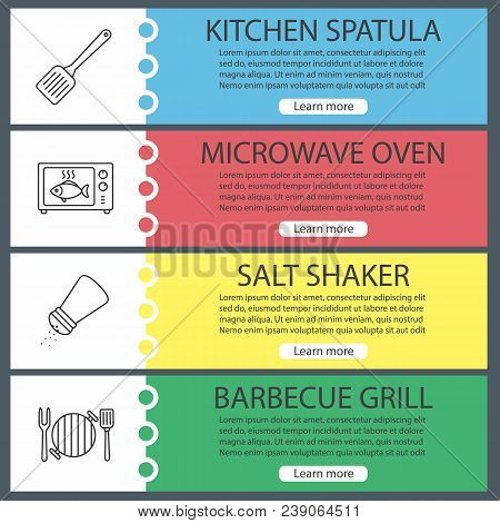 Barbecue Web Banner Templates Set. Bbq. Kitchen Spatula, Microwave Oven Cooking, Salt Shaker, Grill.