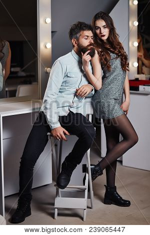 Fashion Photo Of Beauty Salon Romance Of Sexy Lovers. Pretty Girl With Brunette Curly Hair, Red Lips
