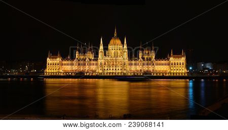 Parliament Building In Budapest, Capital Of Hungary.