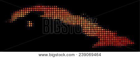 Dotted Fire Cuba Map. Vector Territory Map In Fire Color Shades On A Black Background. Halftone Mosa