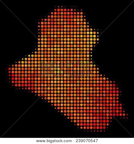 Dot Fire Iraq Map. Vector Geographic Plan In Fire Color Variations On A Black Background. Halftone C