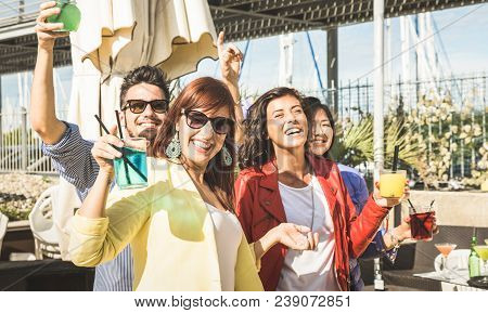 Fashion People Dancing Music And Having Fun Together At Beach Party - Happy Young Friends Drinking C