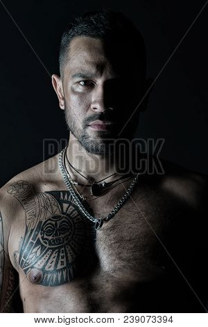 Bearded Man With Tattooed Chest. Macho With Sexy Bare Torso. Fit Model With Tattoo Art On Skin. Spor